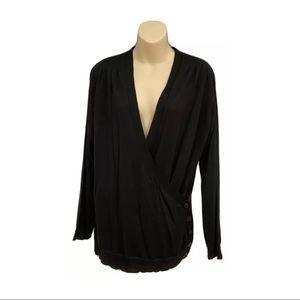 Womens Milana Italy black wrap button fine Merino